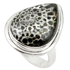 Natural black stingray coral from alaska 925 silver ring size 6 d19065