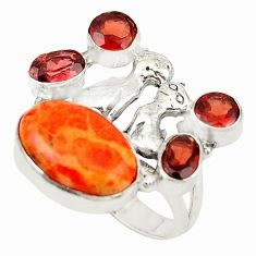 Red copper turquoise garnet 925 silver two cats ring jewelry size 6.5 d19066