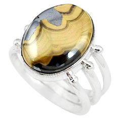 Natural yellow schalenblende polen 925 silver ring jewelry size 7 d20162