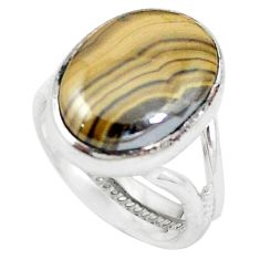 Natural yellow schalenblende polen 925 silver ring jewelry size 6.5 d20170
