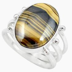 Clearance Sale- Natural yellow schalenblende polen 925 silver ring jewelry size 7 d20179