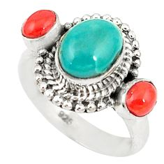 Clearance Sale- Natural green turquoise tibetan coral 925 silver ring jewelry size 7.5 d20203