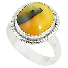 Clearance Sale- Natural yellow opal fancy 925 sterling silver ring jewelry size 8 d20237