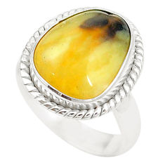 925 sterling silver natural yellow opal fancy ring jewelry size 6.5 d20238