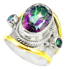 Multi color rainbow topaz 925 sterling silver ring jewelry size 7 d20253