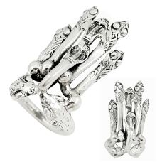 Clearance Sale- Indonesian bali style solid 925 sterling silver snake charm ring size 7 d20438