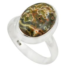 Natural green ocean sea jasper (madagascar) 925 silver ring size 7 d20643