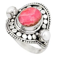 Natural pink rhodochrosite inca rose (argentina) 925 silver ring size 7 d20672