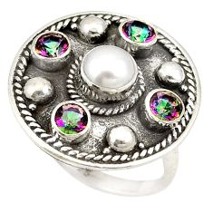 Clearance Sale- Natural white pearl rainbow topaz round 925 silver ring size 6.5 d20682