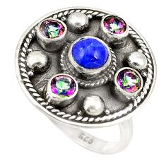 Clearance Sale- Natural blue lapis lazuli rainbow topaz 925 sterling silver ring size 6.5 d20700