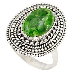Clearance Sale- Natural green chrome diopside 925 sterling silver ring jewelry size 7 d20701