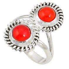Natural orange cornelian (carnelian) 925 silver ring size 5.5 d20734