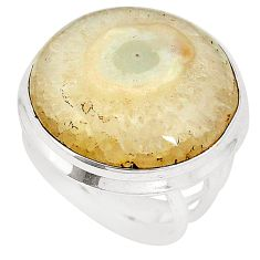 Natural white solar eye 925 sterling silver ring jewelry size 7 d20764