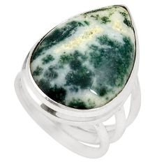 925 sterling silver natural white tree agate ring jewelry size 5.5` d20772