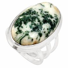 Natural white tree agate 925 sterling silver ring jewelry size 6 d20774