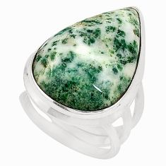 925 sterling silver natural white tree agate ring jewelry size 5.5 d20785
