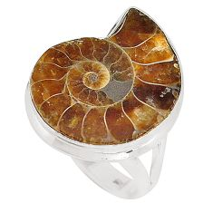 Natural fossil coral (agatized) petoskey stone 925 silver ring size 8 d20864