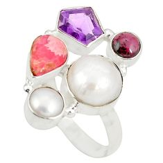 Clearance Sale- Natural white pearl rhodochrosite inca rose 925 silver ring size 8 d20905