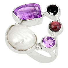 Clearance Sale- 925 sterling silver natural white pearl purple amethyst ring size 8 d20909