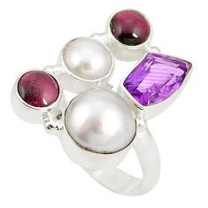 Clearance Sale- 925 sterling silver natural white pearl purple amethyst ring size 7.5 d20918
