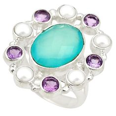 Clearance Sale- 925 silver natural aqua chalcedony amethyst pearl ring size 7.5 d20976