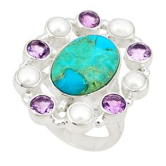 Clearance Sale- Blue arizona mohave turquoise amethyst pearl 925 silver ring size 6.5 d20977