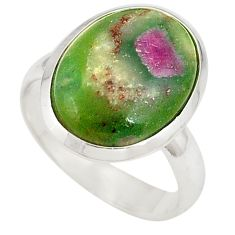 925 sterling silver natural pink ruby in fuchsite ring jewelry size 8 d20979