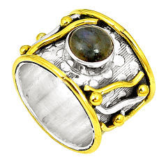 Natural blue labradorite 925 sterling silver two tone band ring size 6 d22742