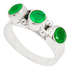 Clearance Sale- Natural green chalcedony 925 sterling silver ring jewelry size 7.5 d22767