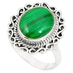 Natural green malachite (pilot's stone) 925 silver ring size 6.5 d22774