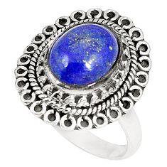 Natural blue lapis lazuli oval 925 sterling silver ring jewelry size 8.5 d22779
