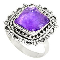 Clearance Sale- Natural purple amethyst rough 925 sterling silver ring size 7.5 d22814