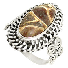 Clearance Sale- Natural brown turritella fossil snail agate 925 silver ring size 7 d22829