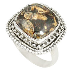 Clearance Sale- Natural brown turritella fossil snail agate 925 silver ring size 7.5 d22834