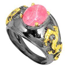 Natural pink rhodochrosite inca rose 925 silver 14k gold ring size 6.5 d23687