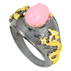 Clearance Sale- 925 sterling silver natural pink opal rhodium 14k gold ring size 6.5 d23696