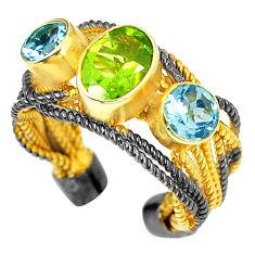 Natural green peridot topaz rhodium 925 silver adjustable ring size 6 d23705
