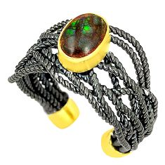 Natural ammolite (canadian) rhodium 925 silver adjustable ring size 6.5 d23723