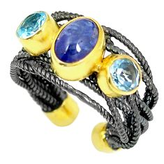 Clearance Sale- Natural blue tanzanite topaz 925 silver adjustable rhodium ring size 6.5 d23725