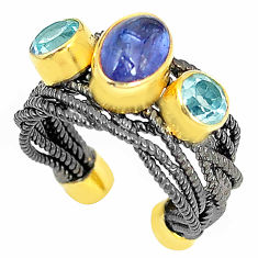 Clearance Sale- Natural blue tanzanite topaz 925 silver adjustable rhodium ring size 5 d23728