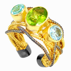Natural green peridot topaz rhodium 925 sterling silver ring size 4 d23730