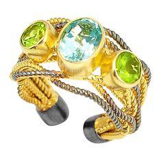 Natural blue topaz rhodium 925 silver 14k gold adjustable ring size 5 d23739