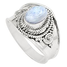 Natural rainbow moonstone 925 sterling silver ring size 6.5 d23742