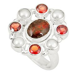 Natural multi color ammolite (canadian) pearl 925 silver ring size 6 d23766