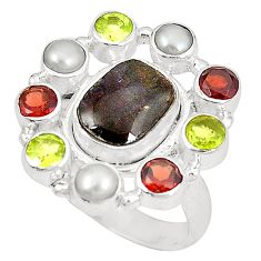925 silver natural multi color ammolite (canadian) pearl ring size 8.5 d23770