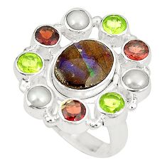 Natural multi color ammolite (canadian) peridot 925 silver ring size 8 d23772
