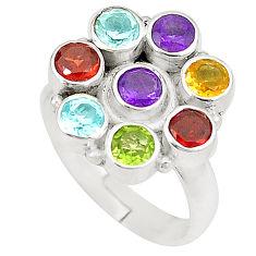 Natural purple amethyst garnet 925 silver adjustable ring size 7.5 d23787
