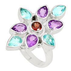 925 silver natural purple amethyst garnet topaz adjustable ring size 7.5 d23800