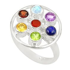 Natural rainbow moonstone amethyst citrine 925 silver ring size 8.5 d23802