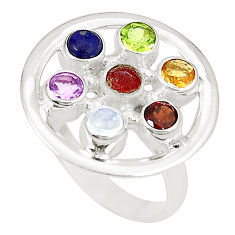 Natural rainbow moonstone amethyst citrine 925 silver ring size 8.5 d23817